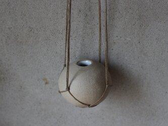 地球 the earth 花器 ハンガーベイス ロウ引き麻プランツハンガー 茶の画像