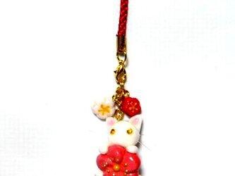 にゃんこのしっぽ○初春にゃんこストラップ〇梅の花〇白猫ゴールドアイの画像