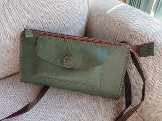 ハンドメイド 手縫い 本革 ショルダーバッグ グリーンの画像