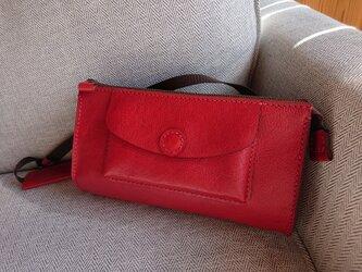 ハンドメイド 手縫い 本革 ショルダーバッグ 赤の画像