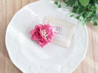 三りんの野ばらのプチコサージュ2Way☆くすみピンク petit corsage of three roses pinkの画像