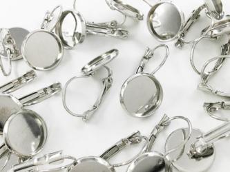 送料無料 ピアス パーツ 台座 ミール皿 付き シルバー ピアス フック セッティング 金具 (AP0695)の画像