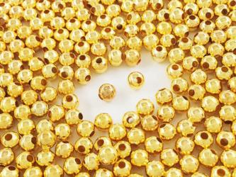 送料無料 メタルビーズ 4mm 丸 500個 ゴールド スペーサー メタルパーツ ボールビーズ (AP0701)の画像