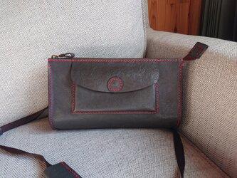 ハンドメイド 手縫い 本革 ショルダーバッグ グレーの画像