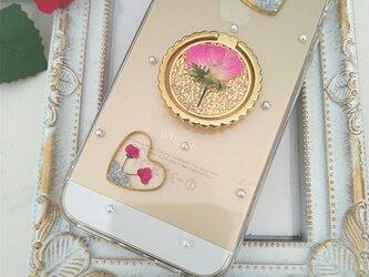 iPhone Android リング付き ミニ薔薇とアリッサムの画像