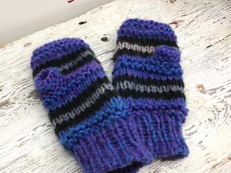 きらきらラメ入り☆冬が楽しくなる、カラフルボーダー手袋(ブルー)の画像