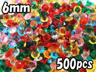送料無料 Vカット ラインストーン 6mm ミックス 500個 混色 アクセサリー ダイヤカットレジン パーツ (AP0763)の画像