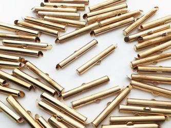 送料無料 ボールチェーン コネクタ ゴールド KC金 30mm 50個 留め具 ネックレス 留め金具 カン付き (AP0782)の画像