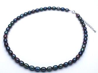 淡水パール ブルー系マルチカラーネックレス 本真珠 40cm +5cmアジャスターの画像
