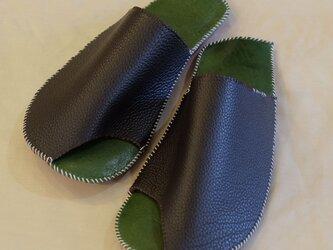 革のスリッパ【空豆】 青竹色 中サイズの画像
