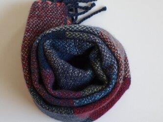 手織りカシミアマフラー・・よこしましま(紺系)の画像