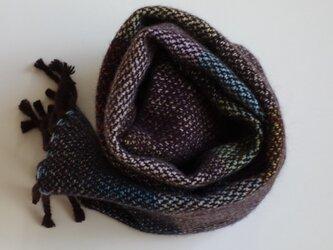 手織りカシミアマフラー・・よこしましま(茶系)の画像