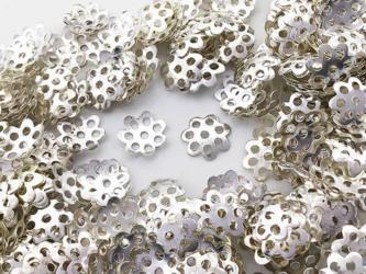 送料無料 ビーズキャップ 8mm シルバー 白銀 座金 花座 300個 ビーズカバー アクセサリー パーツ (AP0817)の画像