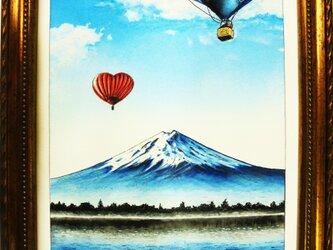 富士山と気球の画像