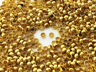 送料無料 つぶし玉 2.5mm 900個 ゴールド かしめ 留め具 留め金具 アクセサリー 金具 エンドパーツ (AP0828)の画像