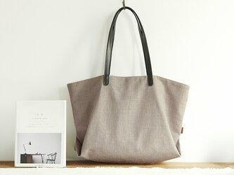綿麻 トートバッグ ライトグレー/ブラックの画像