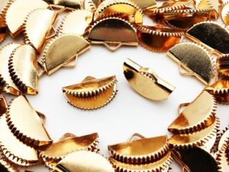 送料無料 ワニグチ 金具 50個 リボン 留め 紐 留め 15mm ゴールド KC金 扇型 ワニ口 ワニカン エンドAP0889の画像