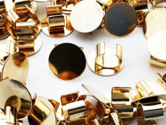 送料無料 セッティング 台座 10mm ゴールド KC金 40個 留め具 留め金具付き ヘアゴム ブレスレットAP0897の画像