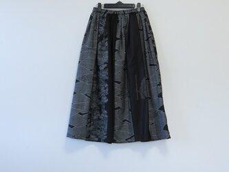 *アンティーク着物*紬のパッチスカート(裏地つき)の画像