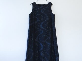 *アンティーク着物*流水模様手織り真綿紬のワンピース(Lサイズ)の画像