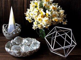 ヒンメリ「正20面体」小サイズ 野外使用可なアルミ製 オプションでサンキャッチャー 幾何学オブジェ シルバー クリスマスの画像