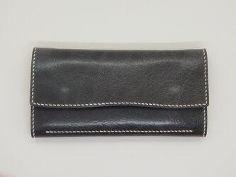 全て手縫いで仕上げた上品な長財布(イタリアンレザー:ブルーグレー)の画像
