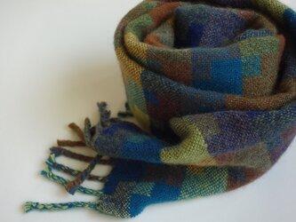 手織りカシミアマフラー・・針葉樹の画像