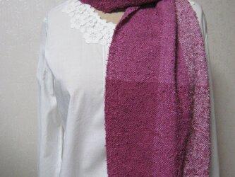 ふんわり手織りシルクストール(ルビーピンク)の画像