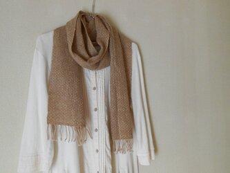キャメル100% 手紡ぎ手織りマフラーの画像