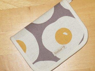 二つ折り財布★目玉焼き柄(グレー)の画像