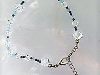 【ブレスレット】アクアマリン・カット・ラピス・キュウーブ水晶♪の画像