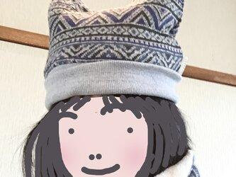 リバーシブル・つのニット帽ブルージャガード&ふわもこホワイト 56-58cmの画像