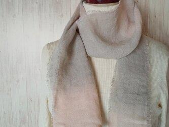 再販 ふんわり♪1枚でリネンとウールのいいところどりミニストール 冬桜 泥染め*の画像