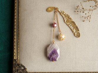 天然石とパールの帯飾り《ケープアメシスト/羽根》【送料無料】の画像