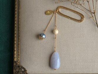 天然石とパールの帯飾り《ブルーカルセドニー/A》【送料無料】の画像