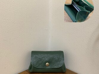 上質牛革 手のひらsize財布◆グリーンの画像