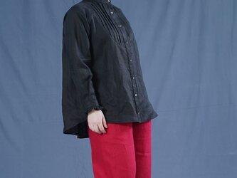 【wafu】中厚 リネン ピンタック フリル シャツ ブラウス ラグランスリーブ 長袖/ブラック t033a-bck2の画像