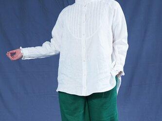 【wafu】中厚 リネン ピンタック フリル シャツ ブラウス ラグランスリーブ 長袖/ホワイト t033a-wht2の画像