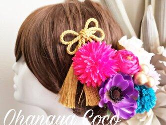 袴 振袖髪飾り 和モダン ピオニーとアネモネの髪飾り8点Set No700の画像