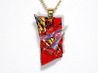 ダイクロガラスペンダント:レッドにレインボー1の画像