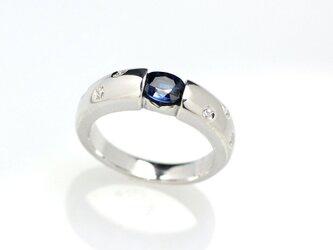 Pt900 ブルーサファイア&ダイヤモンドリングの画像