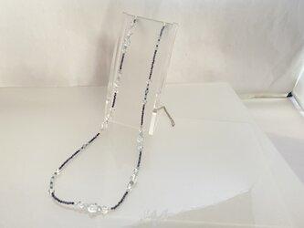 【チェーンネックレス】アクアマリン・カット・ラピス・キュウーブ水晶♪の画像