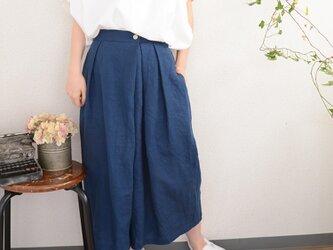 ◇linen gaucho pants_blueの画像