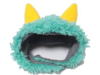 犬猫用コスプレ 緑鬼(ミントグリーン)のかぶりもの(帽子)の画像