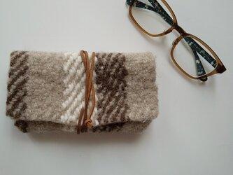 織りフェルト ホームスパン フワフワ眼鏡ケース メガネ 手織り ペンケースにも♪の画像