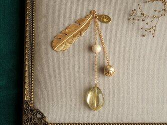 天然石とパールの帯飾り《レモンクォーツ/A》【送料無料】の画像