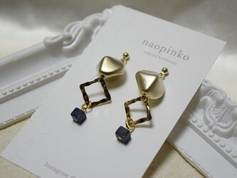 天然石ラピスラズリ&メタルパーツのシックなピアスorイヤリング★の画像
