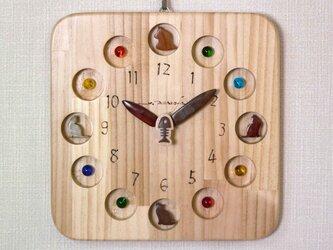 猫時計 25cm角 B玉の画像
