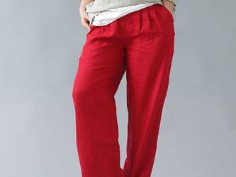 【wafu】中厚 リネン パンツ スリータック ベルトループ ポケット付き リネンパンツ/レッド b010e-red2の画像