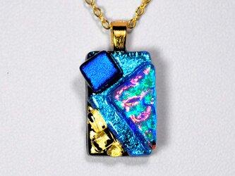 ダイクロガラスペンダント:ブルーにレインボー(金箔54)の画像